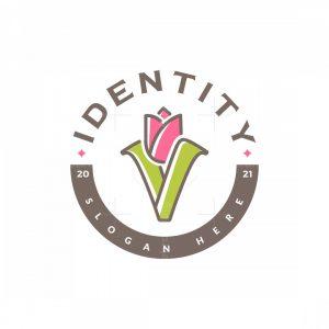 Letter V Tulip Logo