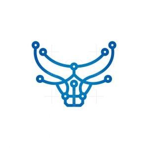 Cyber Bull Logo Technology Bull Logo