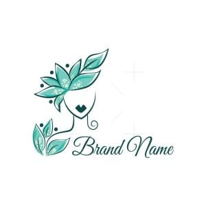 Beautiful Women With Leaves Logo