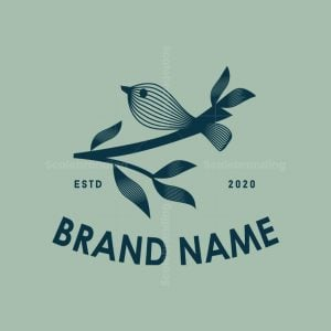 Multiline Bird And Leaves Logo