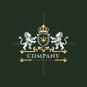 Marijuana Lion Heraldic Logo