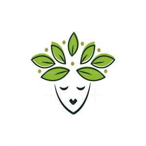 Women Head With Leaves Logo