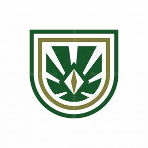 Abstract Monstera Shield Logo