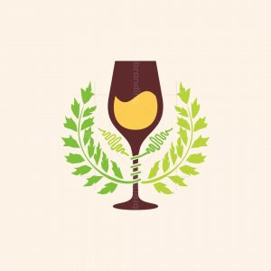 Wine Glass And Grape Leaves Logo