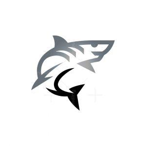 Great White Shark Logo Silver Shark Logo