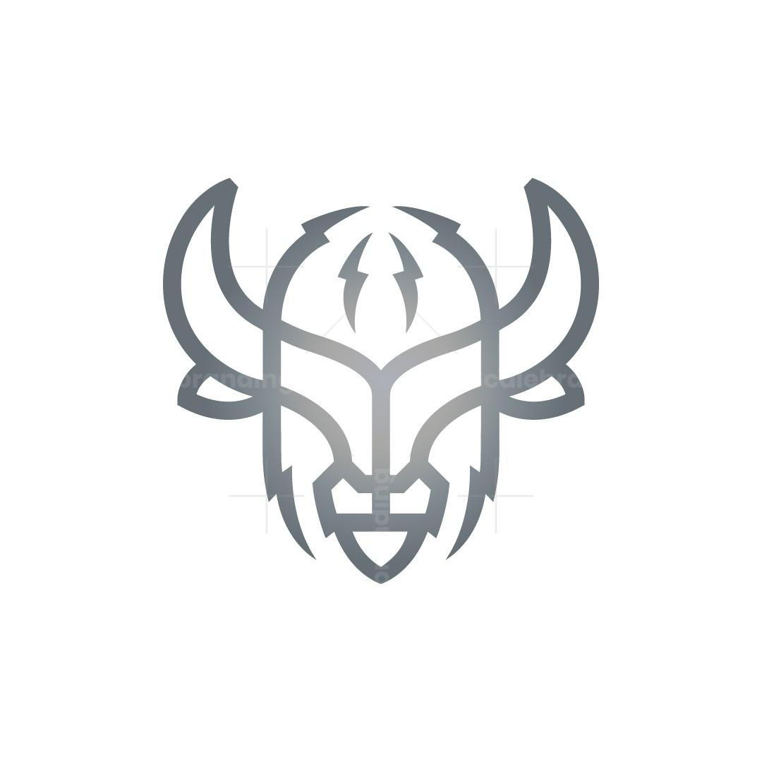 Lightning Bison Logo Buffalo Head Logo