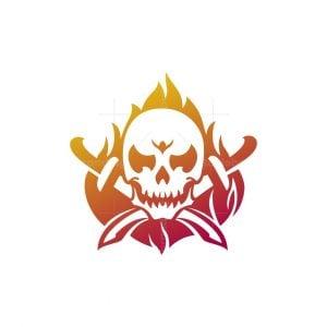 Fire Skull And Swords Logo