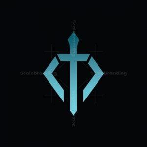 Letter M Diamond Sword Logo