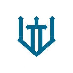 Letter W Sword Logo