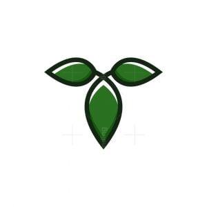 Letter T Leaf Logo