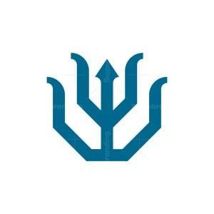 Minimalist Wolf Trident Logo