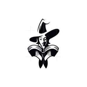 Wizard Woman With Mystic Book Logo