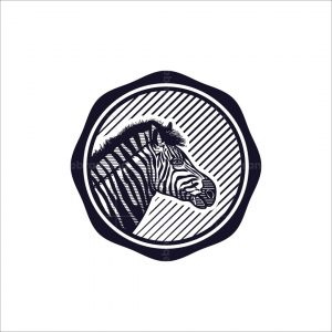Zebra Face Engraved Logo