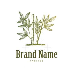 Bamboo Tree Leaves Logo