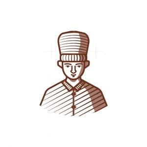 Chef Face Engraved Logo