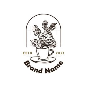 Coffee Beans And Leaves Logo