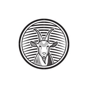 Goat Face Engraved Logo