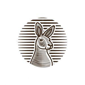 Kangaroo Face Engraved Logo