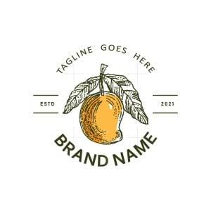Organic Mango Emblem Logo