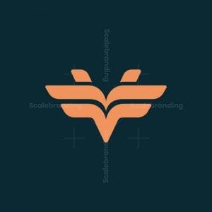 Letter V And Wings Logo.