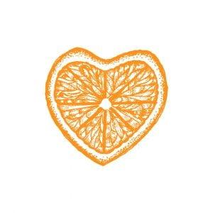 Lemon Or Orange Heart Shape Logo