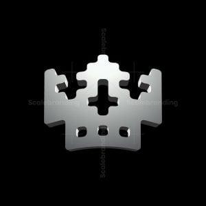 3d Pixel King Skull Logo