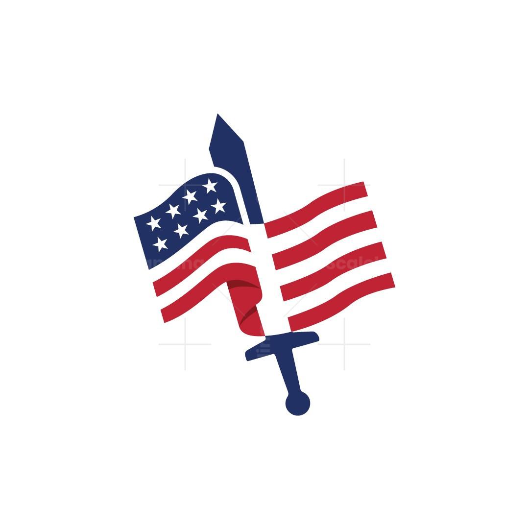American Flag Sword Logo