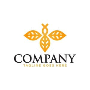 Golden Bee Leaf Logo
