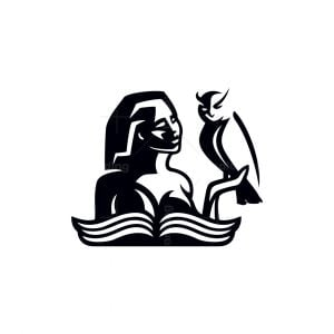 Education Woman With Owl And Book Logo