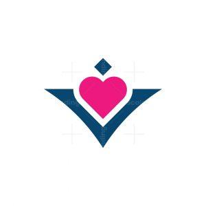 Letter V Love Logo