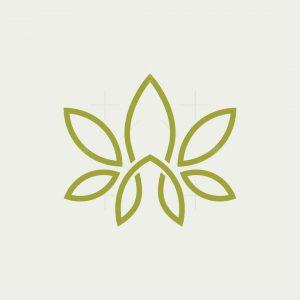 Letter A Cannabis Leaf Logo