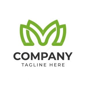 Letter M Or Mm Leaf Logo