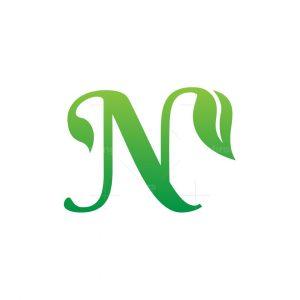 Letter N Nature Leaf Logo