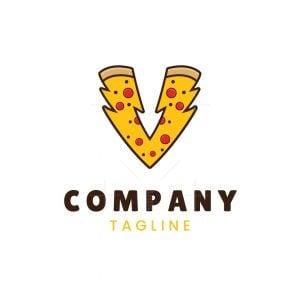 Letter V Pizza Lightning Logo