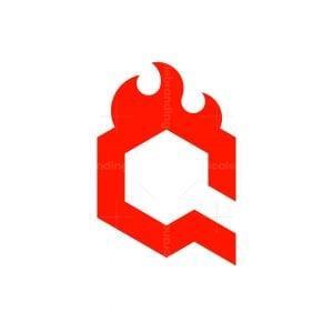 Modern Q Letter Fire Logo