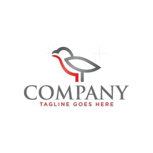 Silver And Red Bird Logo