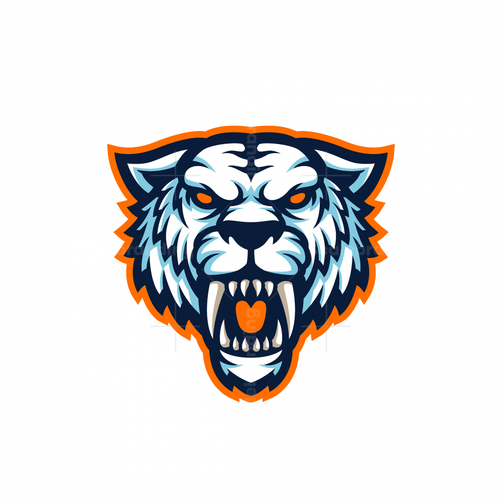 White Sabertooth Mascot Logo