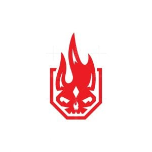 Shield Fire Skull Logo