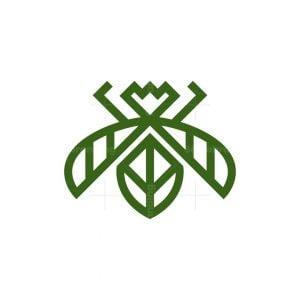 Green Leaf Bee Logo
