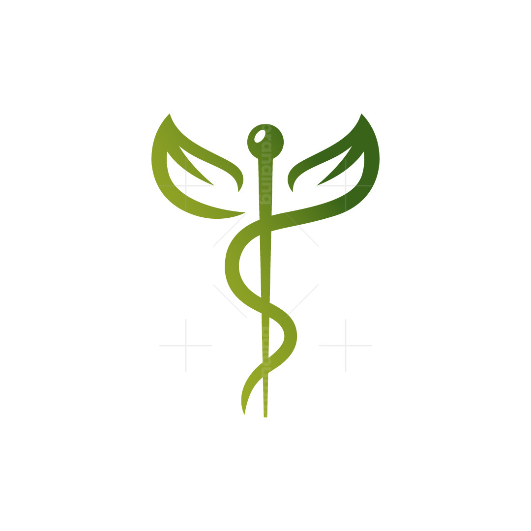 Leaf Caduceus Logo Leaves Caduceus Logo