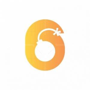 Letter 6 Bomb Logo