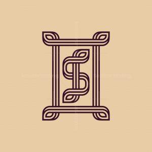 Elegant S Leaves Line Logo