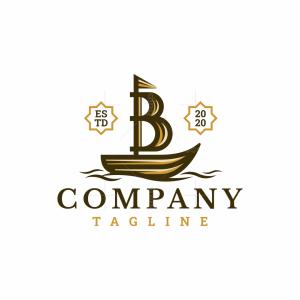Letter B Sailboat Logo
