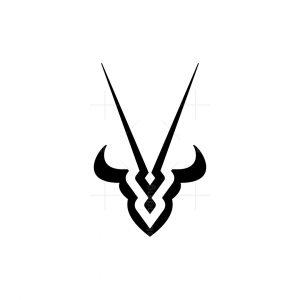 Bull And Oryx Head Logo