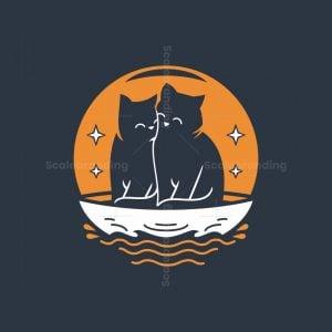 Couple Cat Moon Logo
