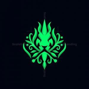 Green Lion King Nature Logo