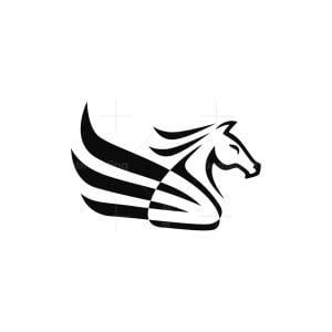 Negative Space Pegasus Logo