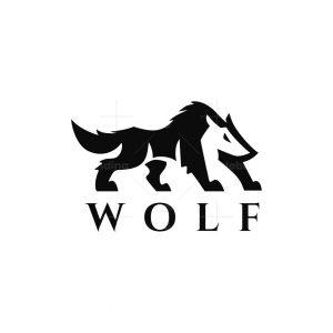 Negative Space Wolf Logo