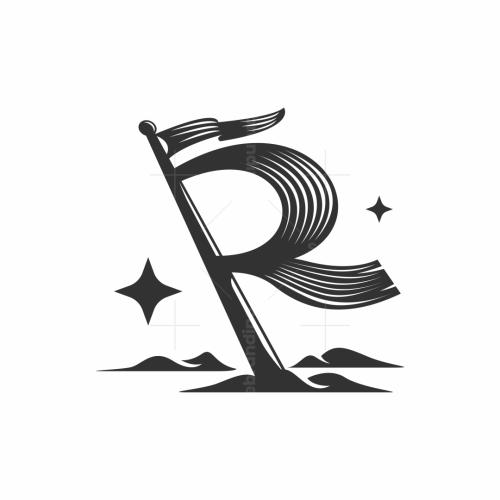 Letter R Flag Logo