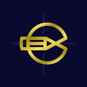 Letter C Golden Pencil Logo